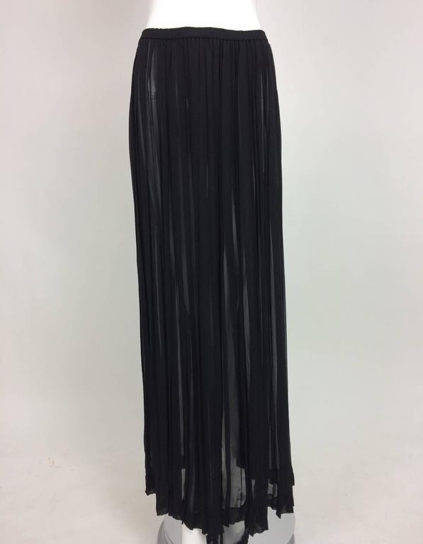 Vintage Yves St Laurent knife pleated sheer silk chiffon maxi skirt 1970s For Sale 4