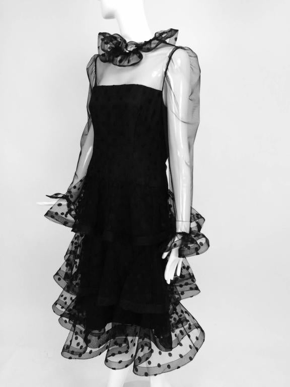 Vintage Arnold Scaasi black point d'esprit & tulle tired ruffle cocktail dress  2