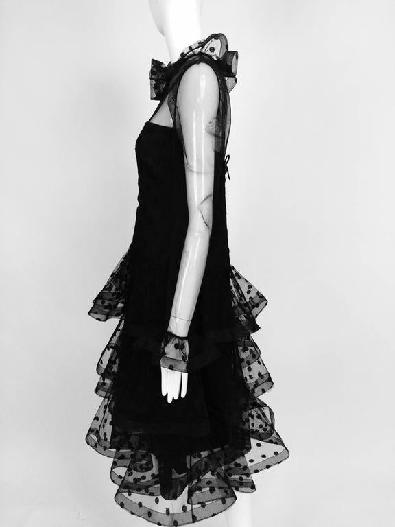 Vintage Arnold Scaasi black point d'esprit & tulle tired ruffle cocktail dress  3