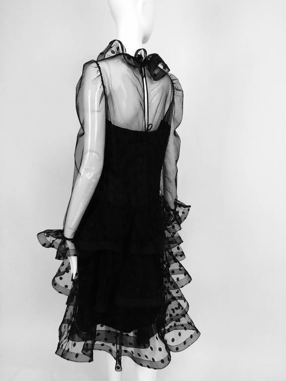 Vintage Arnold Scaasi black point d'esprit & tulle tired ruffle cocktail dress  4