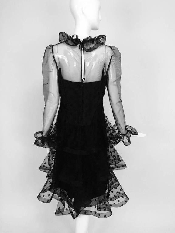 Vintage Arnold Scaasi black point d'esprit & tulle tired ruffle cocktail dress  5