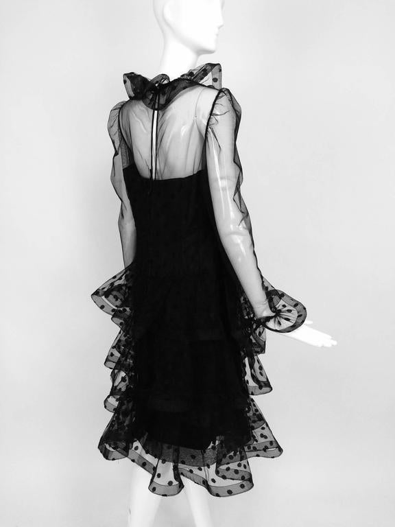 Vintage Arnold Scaasi black point d'esprit & tulle tired ruffle cocktail dress  6