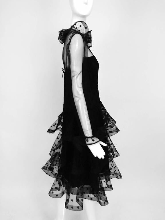 Vintage Arnold Scaasi black point d'esprit & tulle tired ruffle cocktail dress  7