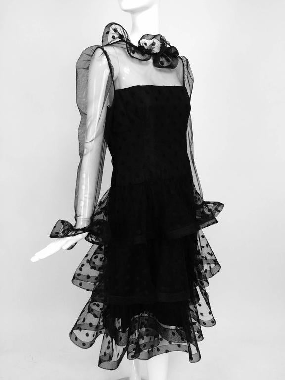 Vintage Arnold Scaasi black point d'esprit & tulle tired ruffle cocktail dress  9