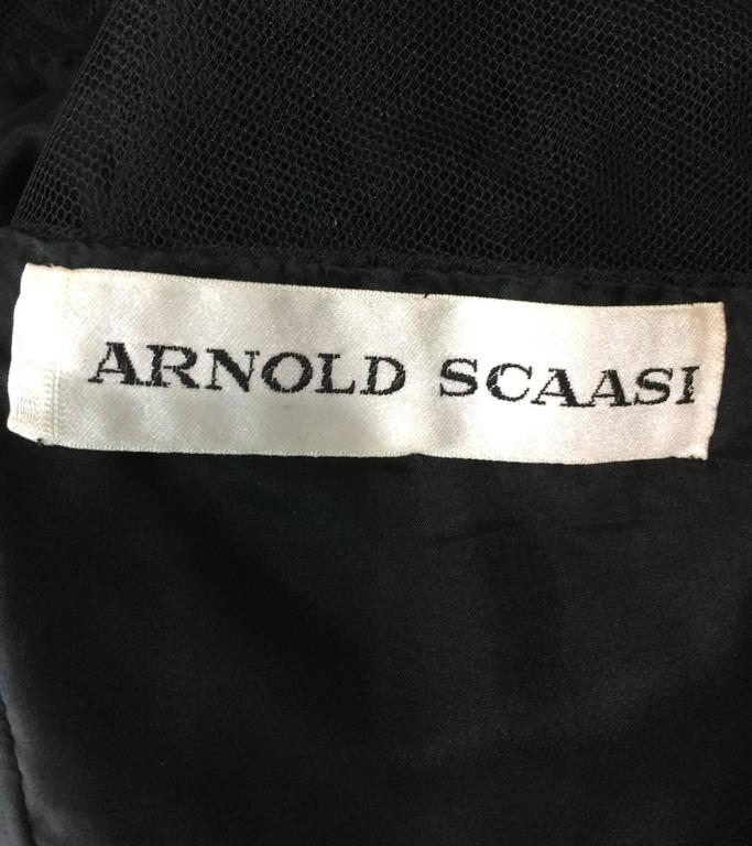 Vintage Arnold Scaasi black point d'esprit & tulle tired ruffle cocktail dress  10
