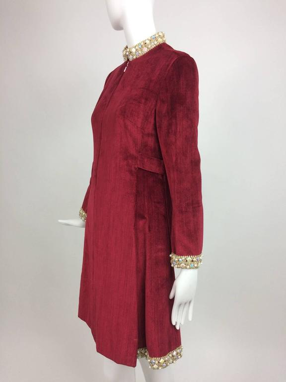Red Garnet red silky cotton velvet jewel trim Mod dress 1960s For Sale