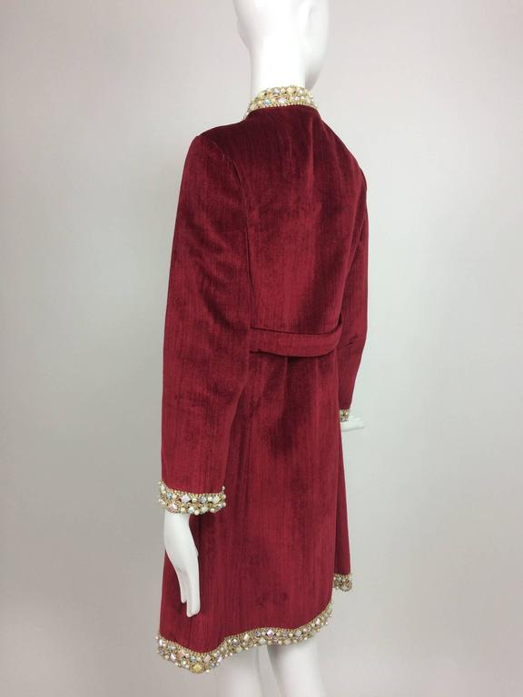 Women's Garnet red silky cotton velvet jewel trim Mod dress 1960s For Sale