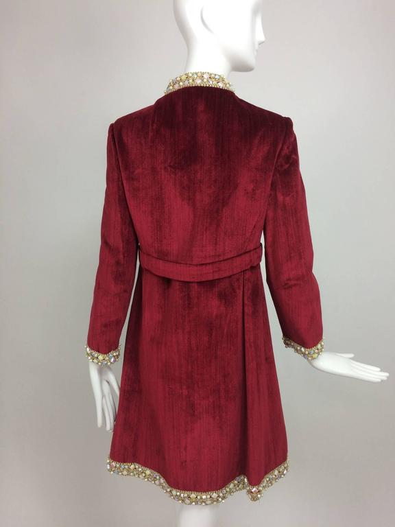 Garnet red silky cotton velvet jewel trim Mod dress 1960s For Sale 1