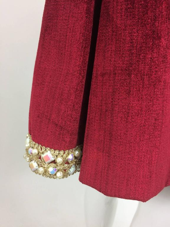 Garnet red silky cotton velvet jewel trim Mod dress 1960s For Sale 5