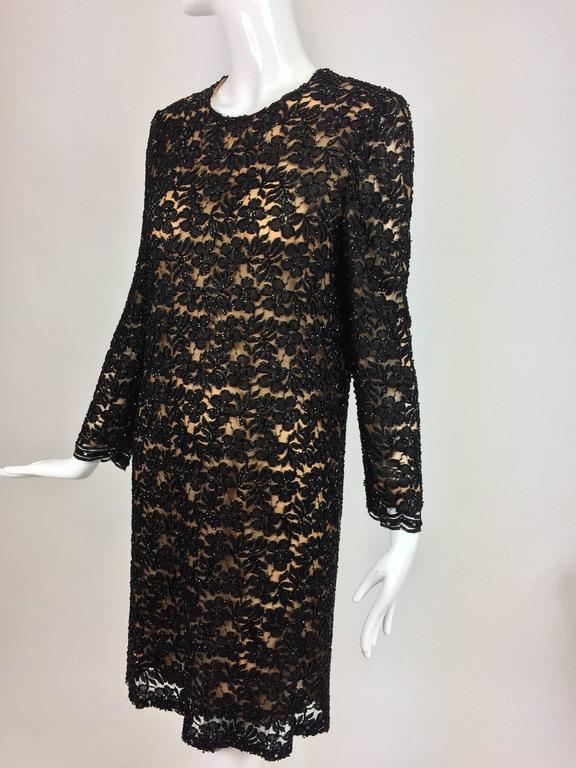 Vintage mod style beaded black floral lace nude lined cocktail dress 1960s For Sale 1