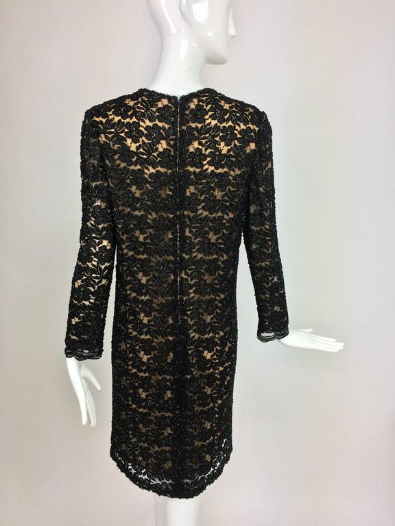 Vintage mod style beaded black floral lace nude lined cocktail dress 1960s For Sale 2