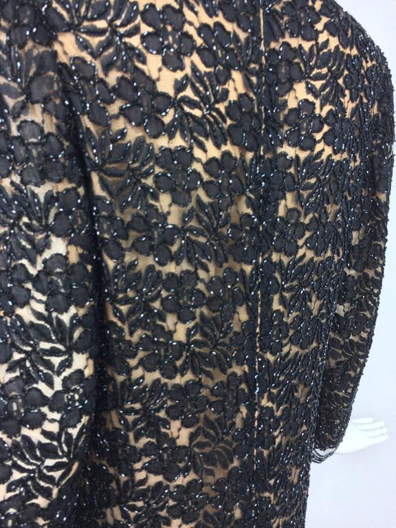 Vintage mod style beaded black floral lace nude lined cocktail dress 1960s For Sale 3