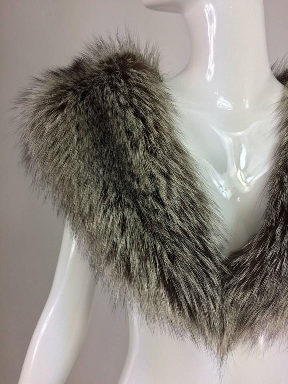 Silver fox fur draped shoulder wrap 1960s  OS 2