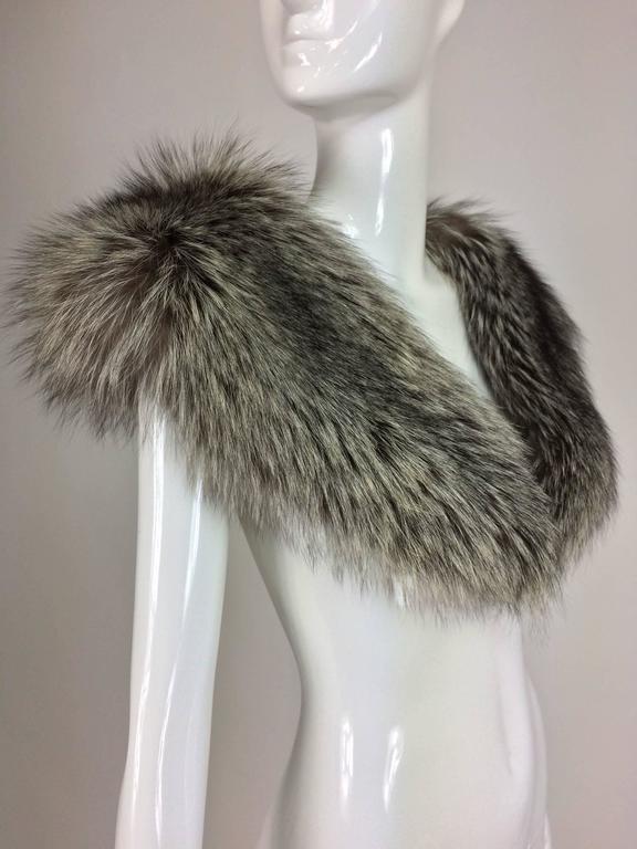 Silver fox fur draped shoulder wrap 1960s  OS 3