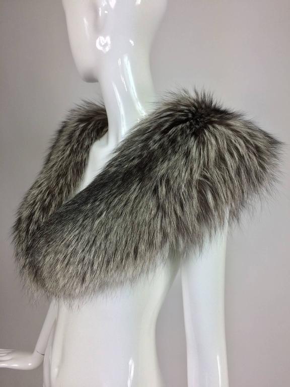 Silver fox fur draped shoulder wrap 1960s  OS 5