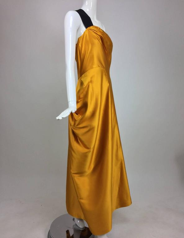 Dries Van Noten saffron silk one shoulder evening gown SS 2009 2