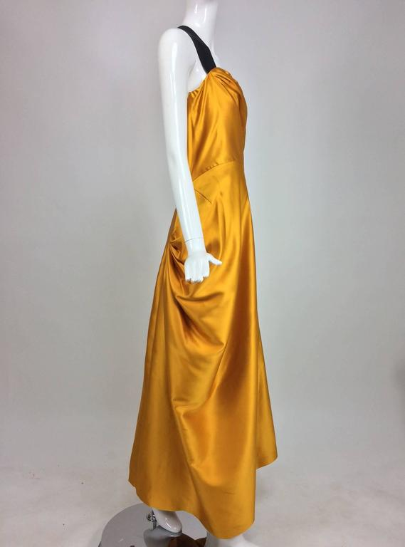 Dries Van Noten saffron silk one shoulder evening gown SS 2009 3