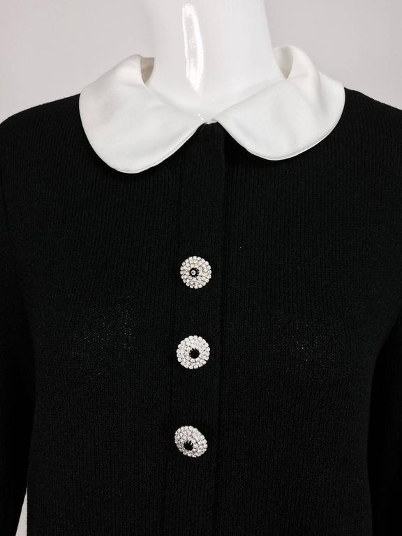 Adolfo black knit A line dress with white satin collar & cuffs 1970s size 12 2