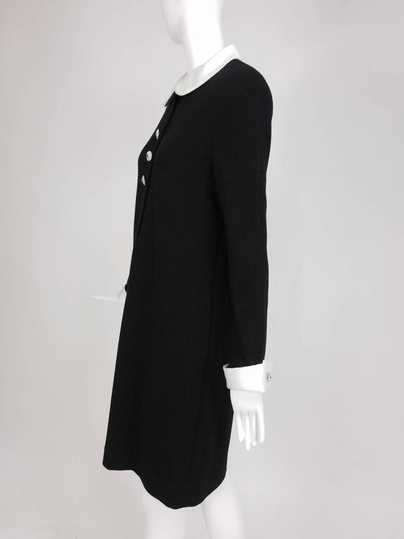 Adolfo black knit A line dress with white satin collar & cuffs 1970s size 12 3