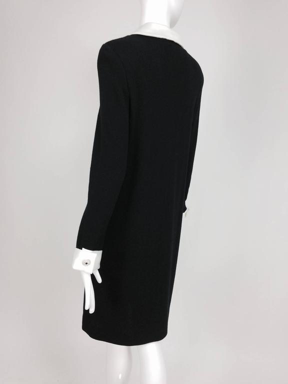 Adolfo black knit A line dress with white satin collar & cuffs 1970s size 12 4