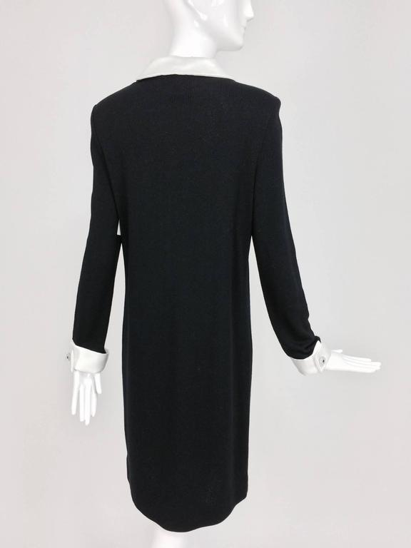 Adolfo black knit A line dress with white satin collar & cuffs 1970s size 12 6