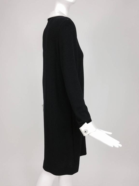 Adolfo black knit A line dress with white satin collar & cuffs 1970s size 12 7