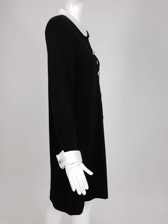 Adolfo black knit A line dress with white satin collar & cuffs 1970s size 12 8