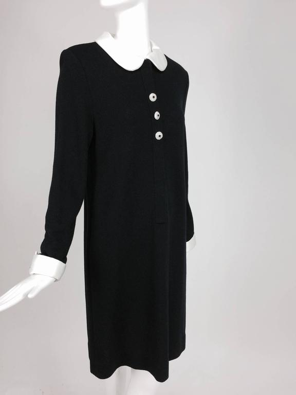 Adolfo black knit A line dress with white satin collar & cuffs 1970s size 12 9