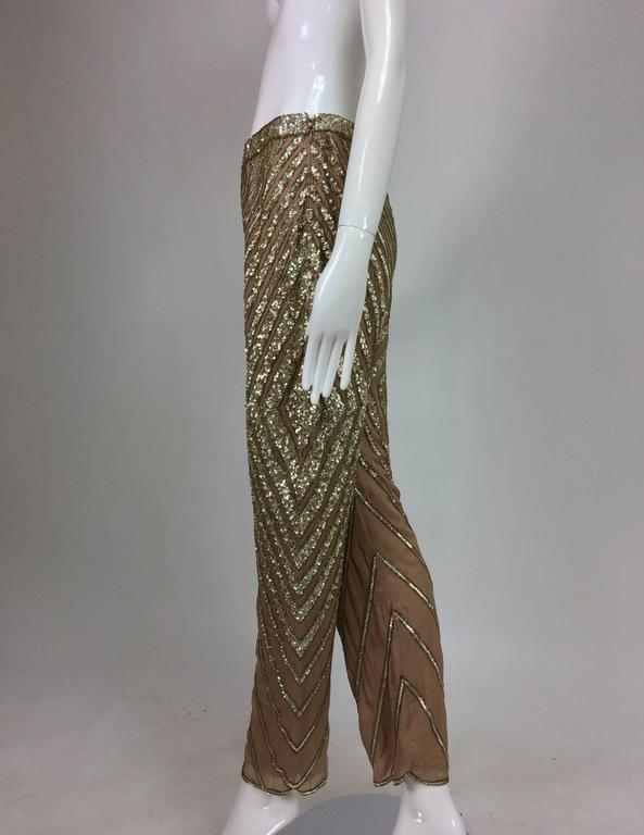 Brown Valentino S/S 2001 nude silk chiffon gold bead silver sequin trouser look 57 For Sale