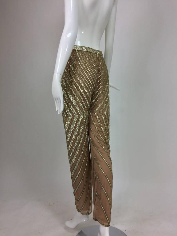 Valentino S/S 2001 nude silk chiffon gold bead silver sequin trouser look 57 In Excellent Condition For Sale In West Palm Beach, FL