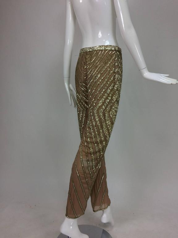 Valentino S/S 2001 nude silk chiffon gold bead silver sequin trouser look 57 For Sale 1