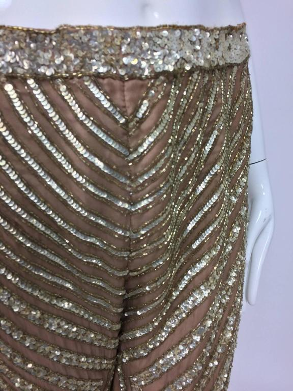 Valentino S/S 2001 nude silk chiffon gold bead silver sequin trouser look 57 For Sale 2