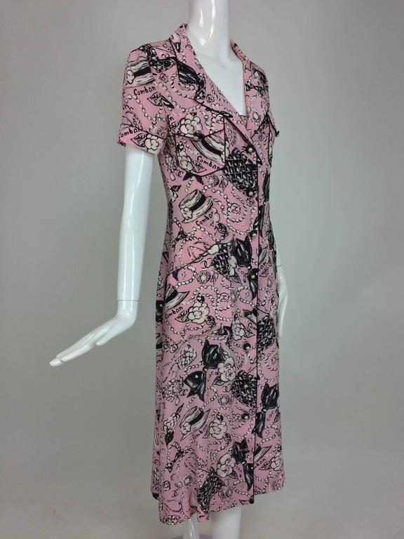 Gray Chanel Claudia Schiffer runway worn rare Coco print dress pink silk 1993 For Sale