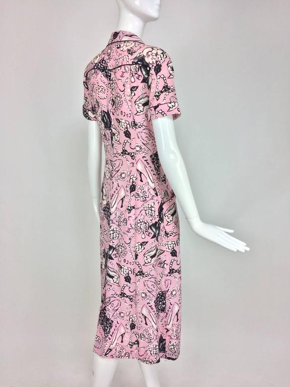 Women's Chanel Claudia Schiffer runway worn rare Coco print dress pink silk 1993 For Sale