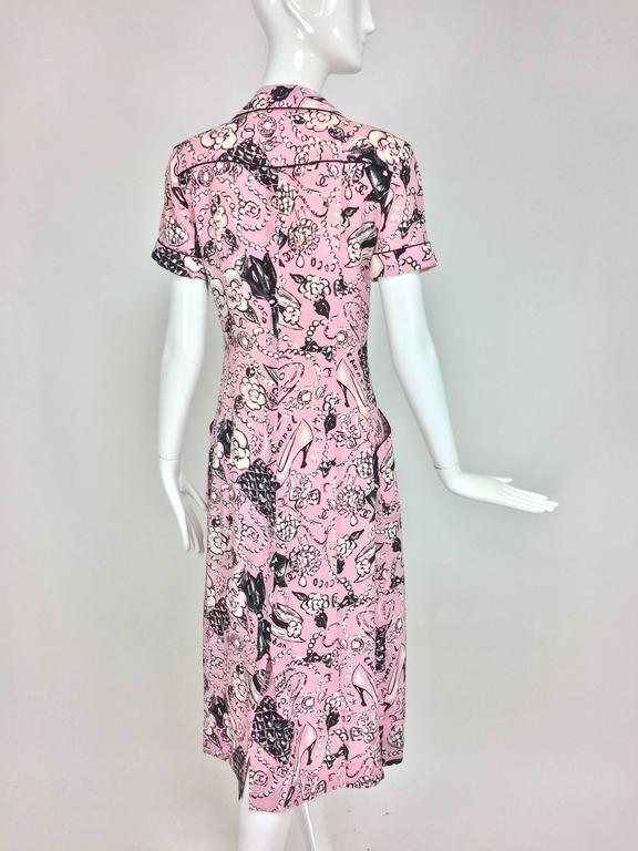 Chanel Claudia Schiffer runway worn rare Coco print dress pink silk 1993 For Sale 1
