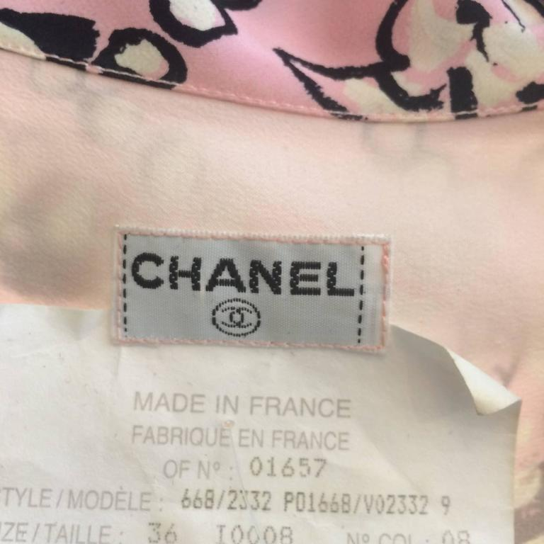 Chanel Claudia Schiffer runway worn rare Coco print dress pink silk 1993 For Sale 5