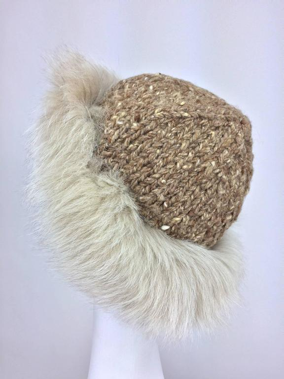 Lillie Rubin Fox fur and cocoa tweed knit hat 1970s unworn 3