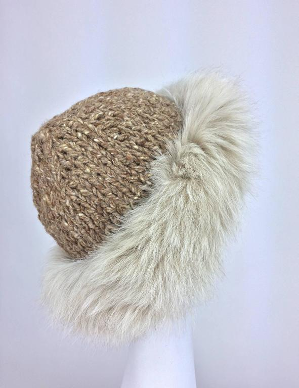 Lillie Rubin Fox fur and cocoa tweed knit hat 1970s unworn In Excellent Condition For Sale In West Palm Beach, FL