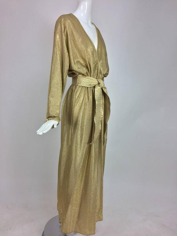 Bill Tice Gold Lurex Plunge At Home Maxi Dress 1970s At