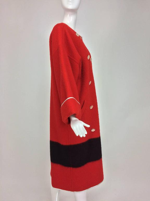 Red Geoffrey Beene red and black wool blanket coat silver lame trim 1970s For Sale