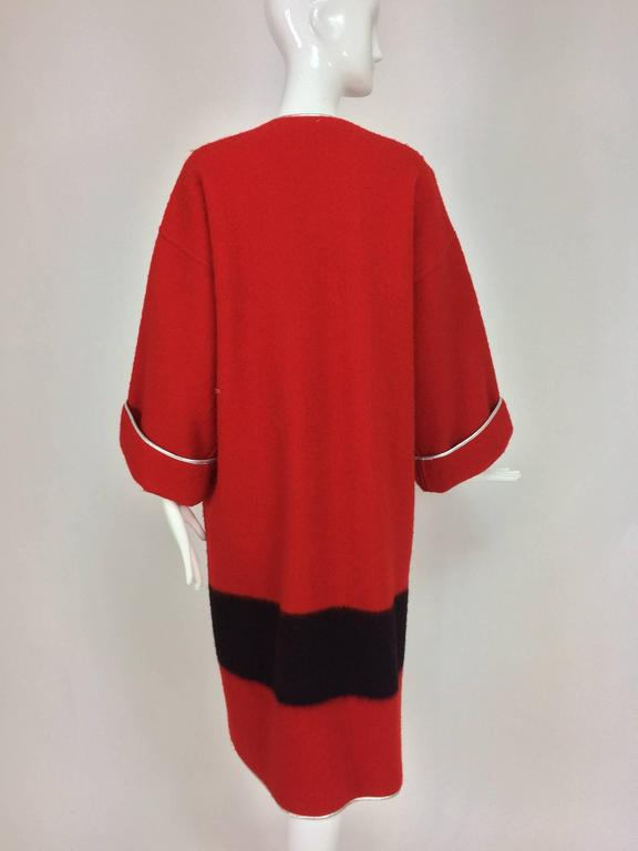 Geoffrey Beene red and black wool blanket coat silver lame trim 1970s For Sale 1