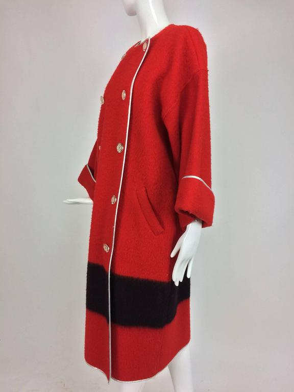Geoffrey Beene red and black wool blanket coat silver lame trim 1970s For Sale 3