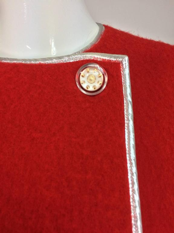 Geoffrey Beene red and black wool blanket coat silver lame trim 1970s For Sale 4