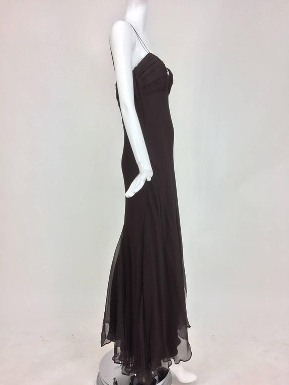 J. Mendel Paris chocolate brown silk chiffon bias cut evening dress ...