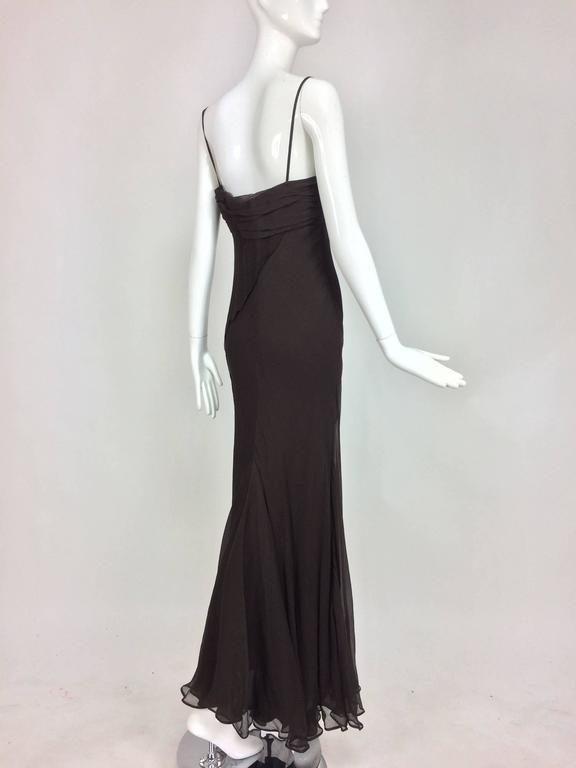 J. Mendel Paris chocolate brown silk chiffon bias cut evening dress 8 In Excellent Condition For Sale In West Palm Beach, FL