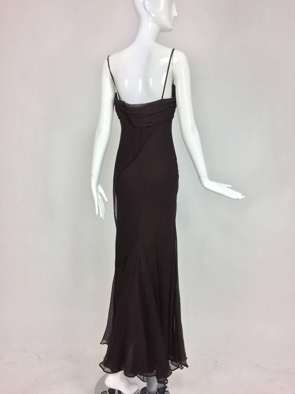 Women's J. Mendel Paris chocolate brown silk chiffon bias cut evening dress 8 For Sale