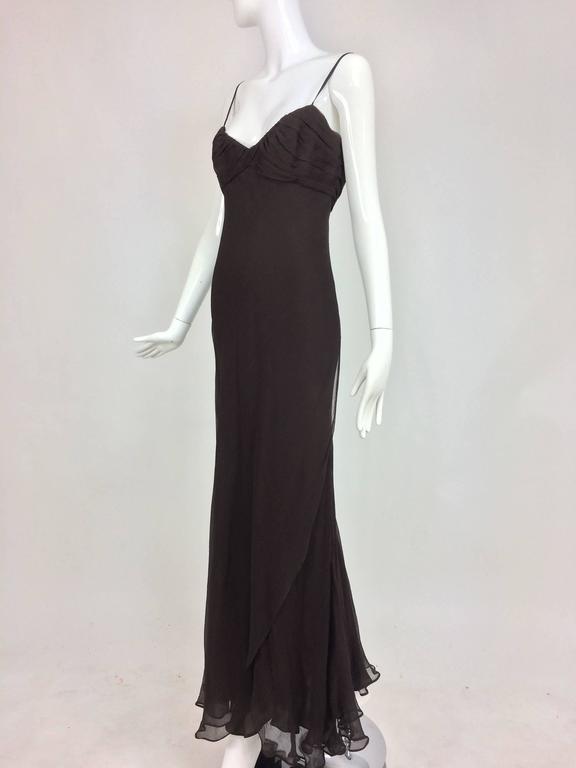 J. Mendel Paris chocolate brown silk chiffon bias cut evening dress 8 For Sale 3
