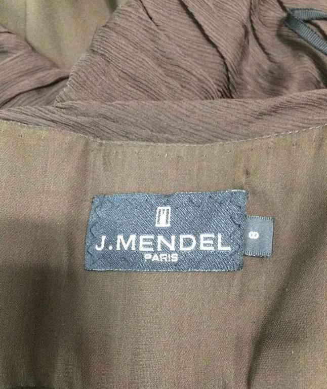 J. Mendel Paris chocolate brown silk chiffon bias cut evening dress 8 For Sale 4