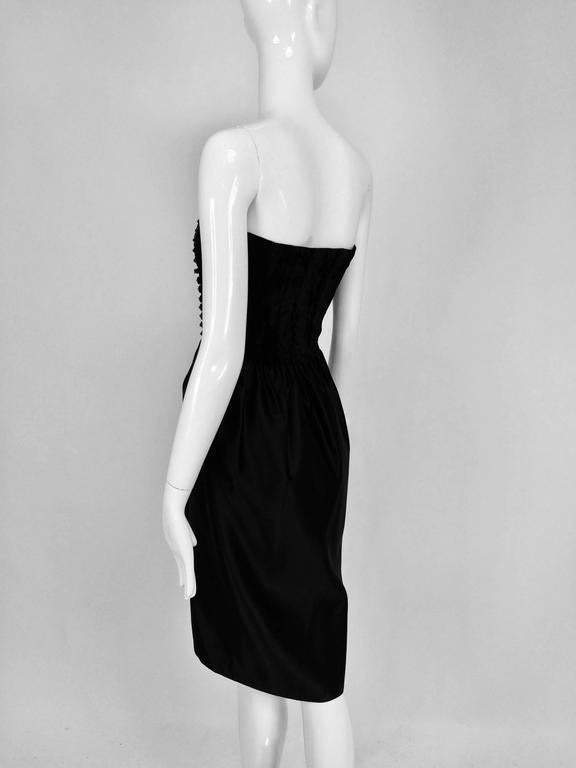 Black Lanvin numbered Haute couture black silk and velvet strapless cocktail dress  For Sale