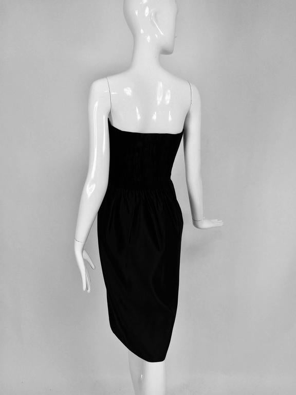Lanvin numbered Haute couture black silk and velvet strapless cocktail dress  In Excellent Condition For Sale In West Palm Beach, FL